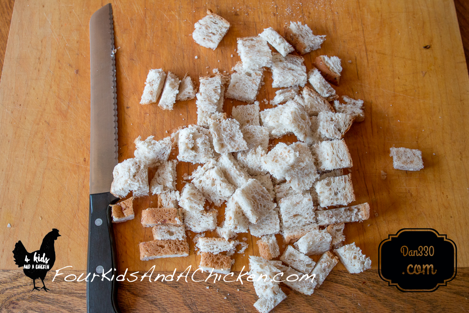 Dicing bread for homemade croutons
