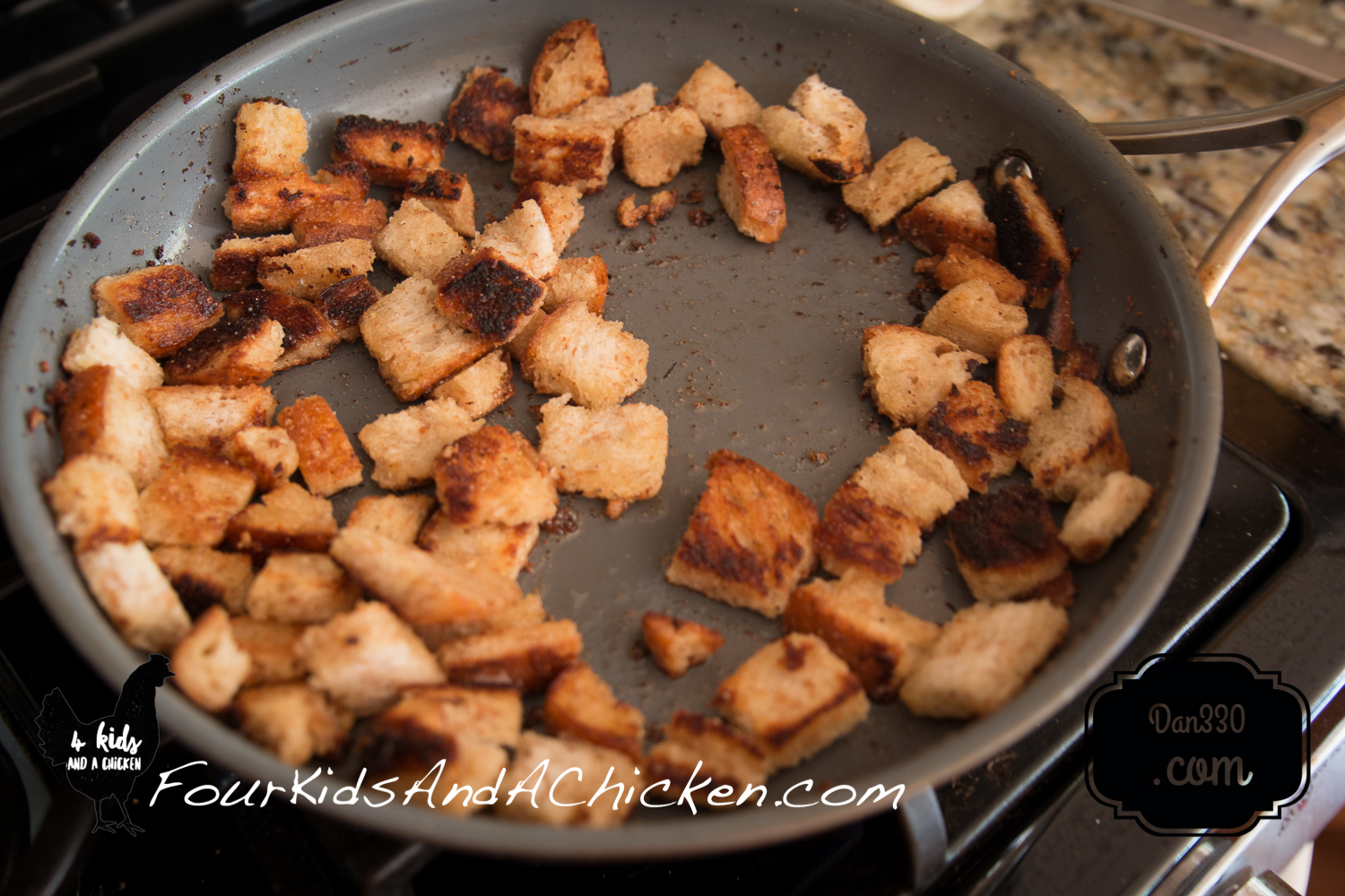 Homemade croutons for Baked Zucchini Casserole