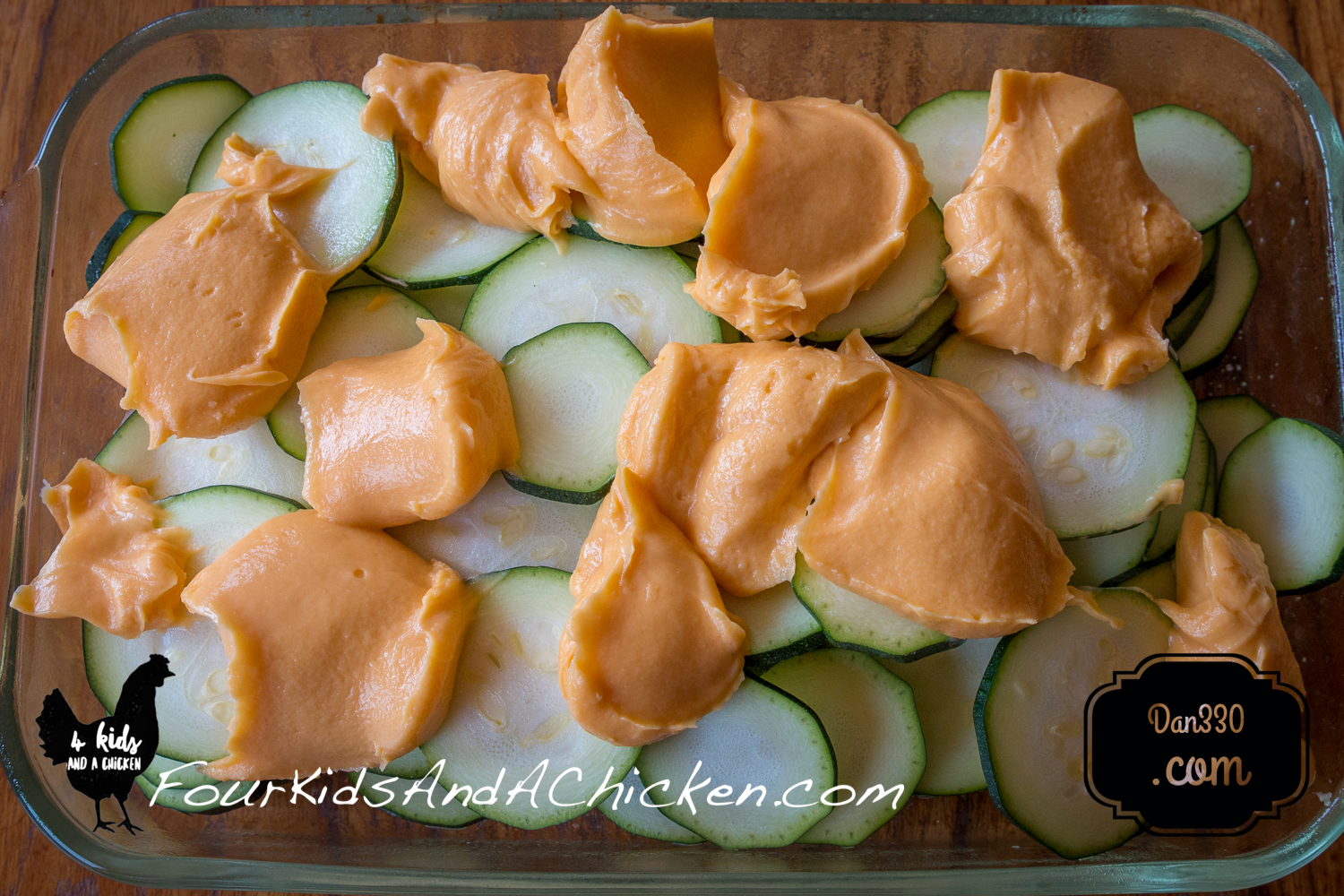 Dollops of Cheese Whiz for Baked Zucchini Casserole